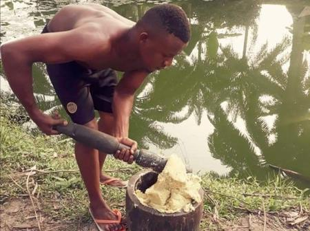 Reactions as Nigerian man shares photos of the Pounded cocoyam he prepared (Photos)
