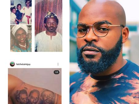 Reactions As Falz Tattoos Pictures Of His Family On His Body