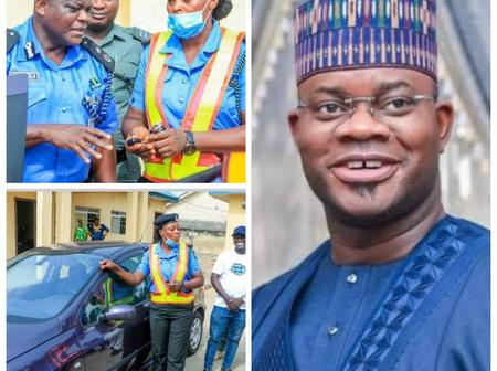 Gov Yahaya Bello Gift Traffic Warden woman a Brand New Car For Her Dedication To Duty (Photos)