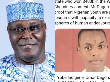 Weeks after Umar Dangona won $400 000 chemistry competition - Checkout what Atiku said about him