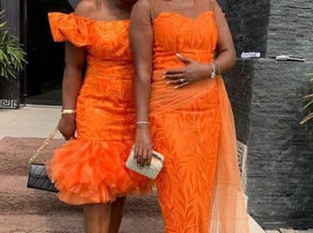 Check Out These Decent Orange Coloured Lace Outfits