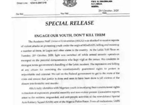 ASUU Finally Releases A Memo To The Federal Government. University Students Should Kindly Read This