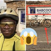 After He Said He Travelled With His Bicycle From Babcock University In Ogun To Lagos, See Reactions