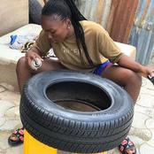 See what a 16year old girl can do with used tyres