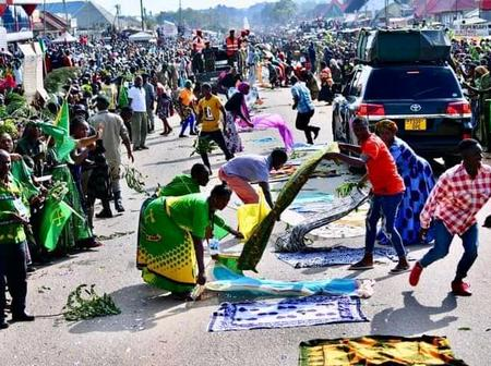 Residents of Chato Spreads Pieces of Clothes In The Street To Show Respect For the Late Magufuli