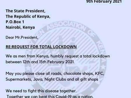 Stingy Men Association Request Letter to Uhuru Kenyatta on Total Lockdown From 12th February