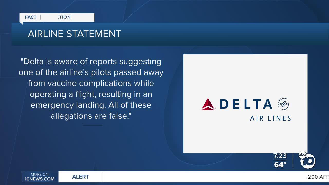 Fact or Fiction: Delta pilot dies from COVID-19 vaccine mid-flight?