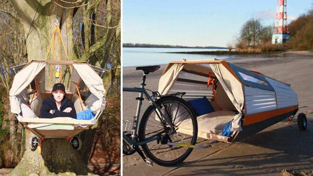 Il invente une remorque à vélo qui se transforme en tente à suspendre dans les arbres