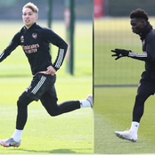 Pictures Of Bukayo Saka, Smith-Rowe & Other Arsenal Players Training Ahead Of UEL Clash Tomorrow