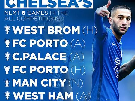 How Many Points From These Next 6 Fixtures for Chelsea in all Competitions?