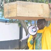 Nigerian pastor who parade street with coffin on his head, explain why he did it