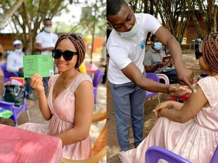 Reactions As Regina Daniel Shares Pictures of Herself Taking COVID-19 Vaccine