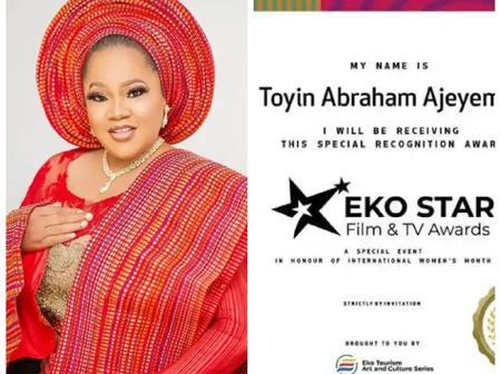 Mo Abudu, Kehinde Bankole & others react as Toyin Abraham shares photo of  Award