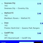 Tonight's six (6)Must Win Multibet Teams to stake on and secure a big Harvest