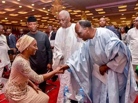 Check Out Lovely Photos Of Yemi Osinbajo's Wife Kneeling Down To Greet Her Elders