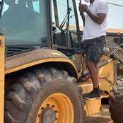 Dr Okoe Boye Is Doing It All Even After Losing. Check How He Mounted Excavator To Start Work