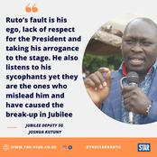 The Newly Appointed Jubilee Party Deputy Sec Gen Joshua Kutuny Takes on Ruto on This Issue