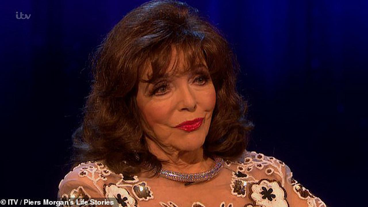 Joan Collins dazzles viewers as she cries while talking about her mother's death and makes cheeky quips teasing Piers Morgan in emotional Life Stories interview