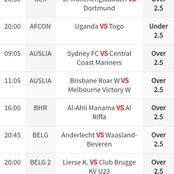 Sure football prediction for over 2.5 for today.