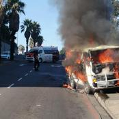 Must See: A Toyota Hiace Was Completely Destroyed After Catching A Fire On Ireland Street.