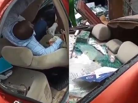 After Container Fell On Top Of His Car, Check What Happened To The Man Trapped Under For 2Hours
