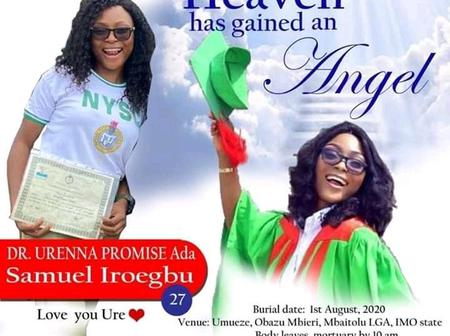 Imo State University Student who Died Three Days After Passing Out From NYSC Has Been Laid to Rest