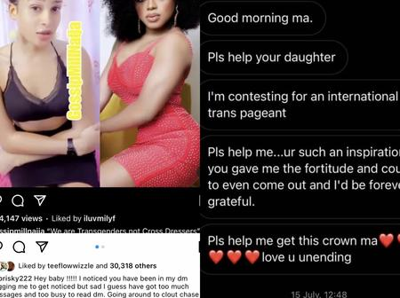 'I am your mummy' reaction as Leaked chat of transgender begging bob risky surface online(photos)