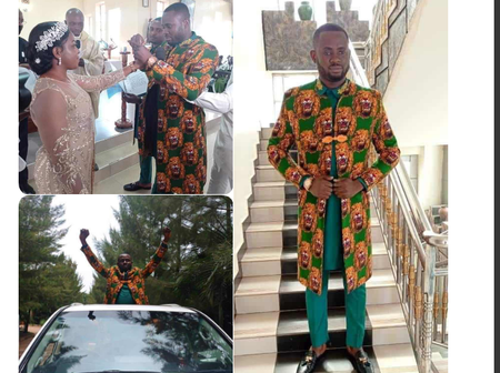 Igbo man slays on 'Ishiagu' attire, for his white(church) wedding in Uganda. (See Photos).