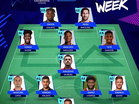 Messi & Zapata In, Fernandes Out ; UCL Team Of The Week By Fantasy Football.