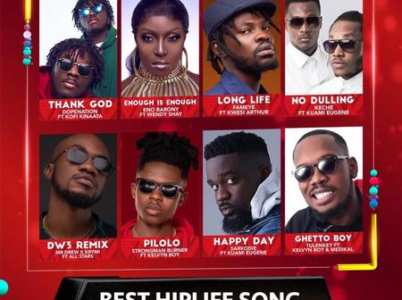 2021 VGMA Nominees Of Best HipLife Song Has Finally Dropped; Check Out Photos Of Your Favorite