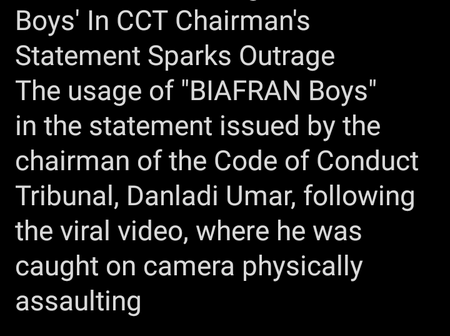 Nigeria's Chairman Code of Conduct Tribunal, Danladi Umar needs to resign because of his statement