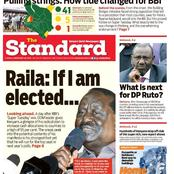 Today's newspaper Review: Raila Hints On Vying For Presidency, Promises Increased Fund For Counties