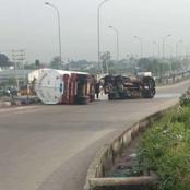 Fuel spills as Petrol tanker falls along Obiri Ikwerre flyover in Port Harcourt