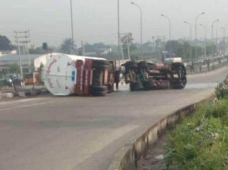 Fuel spills as Petrol tanker falls along Obiri Ikwerre flyover in Port Harcourt