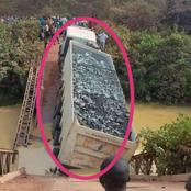 A Bridge Collapses After A Truck Ferrying Construction Materials Passed Through It