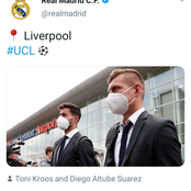 Real Madrid players arrived at Liverpool in style ahead of their Champions League quarter-final.