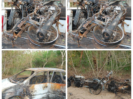 Photos: Fulani Herdsmen Allegedly Attack Hunters In Ogun State, Burn 2 Vehicles And 9 Motorcycles