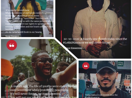 A Month After Lekki Massacre, Check Out What Nengi, Ozo, Prince And Others Posted In Remembrance.