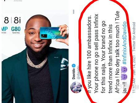 Davido believes no phone brand can sell more than Infinix in Nigeria
