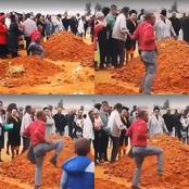 After a man went to the burial of his late friend, see what he did that caused reactions online