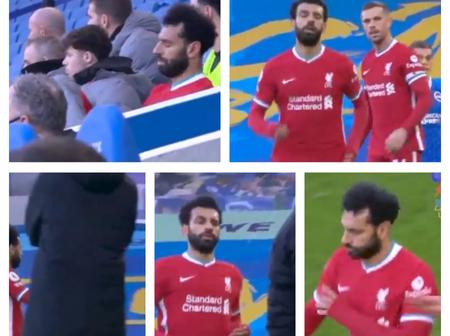Is Salah Proud Or What!? - See How He Ignored Klopp And Henderson After He Was Substituted (PHOTOS)