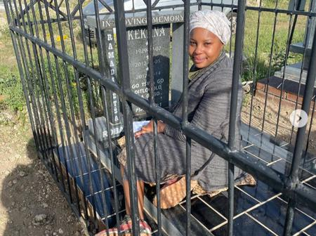 Skeem Saam actress ends the year by visiting her grandmother's grave.
