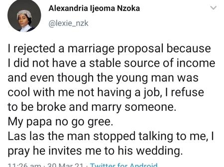 Mixed Reaction On Social Media As A Female Lawyer Gave This Reason For Rejecting A Marriage Proposal