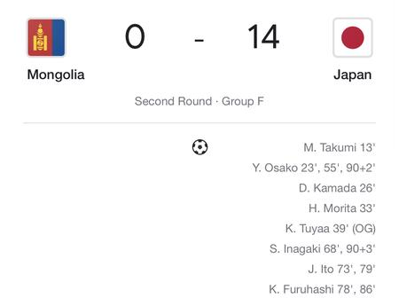 World Cup Qualifiers : Mongolia 0-14 Japan