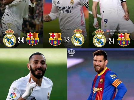 After Real Madrid Did The Double Over Barcelona, See The Total El Clasico Wins Both Teams Have.