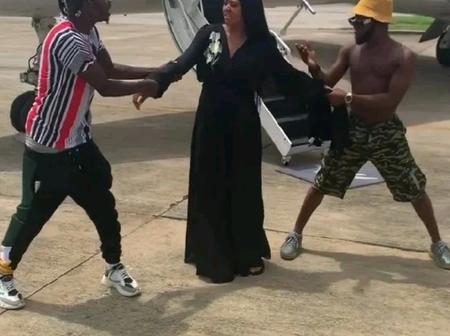 Throw-back to when Nairamarley and Brodashagi dragged Regina Daniels in an airport(see photo)