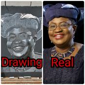 Nigerian's Got Talent: See The Amazing Drawing A Nigerian Man Made Of Dr Ngozi Okonjo-Iweala (Photo)