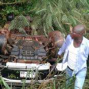 Abronye DC Escapes Death In a Brutal Accident Which Turns Car upside down