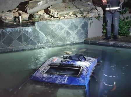 Drunk Driver crashes through complex wall and into swimming pool.