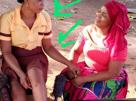 Former Miss Abia, Geraldine Obi pictured on the set of an upcoming Nollywood movie (see photos)